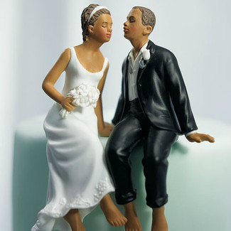 Whimsical Bride and Groom Wedding Cake Topper
