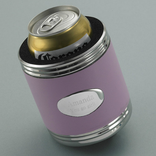 Pink Leather Koozie