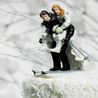 Winter Skiing Wedding Cake Topper