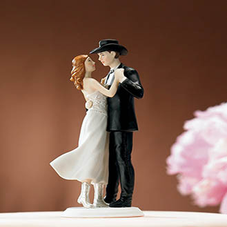 Sweet Western Embrace Wedding Cake Topper