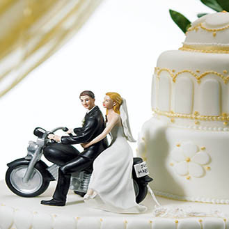 Motorcycle Get Away Wedding Cake Topper