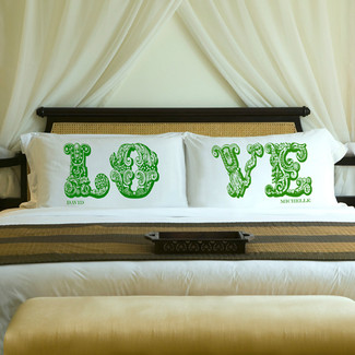 Garden Green -LOVE Connection Couples Pillow Case Set
