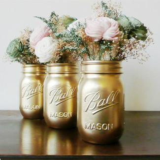 Gold Painted Ball Mason Jars