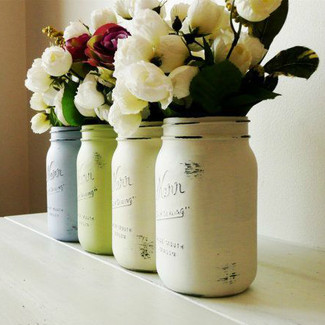Distressed painted mason jars