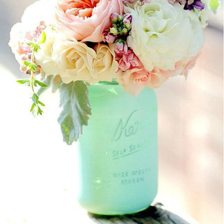 Mint, Blush, Cream and White Mason Jars