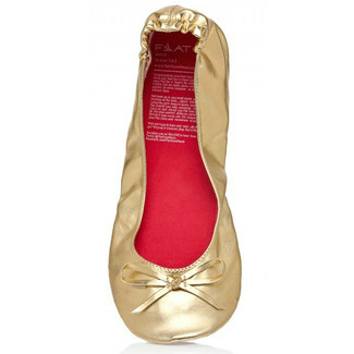 Gold Ballet Flats Shoes