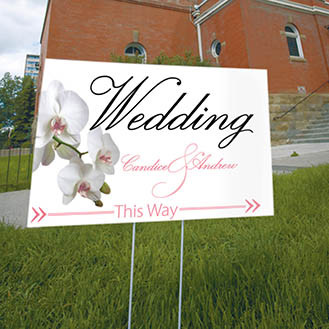 Classic Orchid Wedding Directional Sign