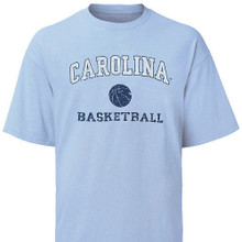 Carolina Blue Basketball Tee - faded arc Carolina with basketball icon