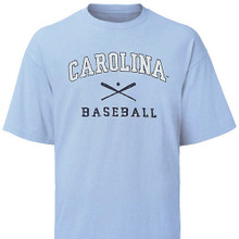 Carolina Blue Faded Baseball Tee - two color distressed logo featuring crossed bats with Carolina above and baseball beneath