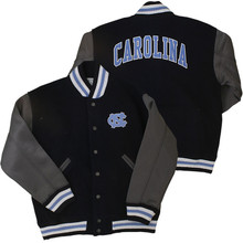 youth jacket with navy body and gray sleeves