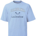 Carolina Youth Faded Lacrosse Tee - Carolina in an arc over crossed sticks with Lacrosse underneath