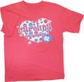 Youth Pink Carolina Hearts Tee -polka dot hearts and the words Carolina Tar Heels