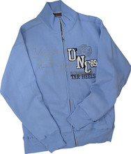 Carolina Blue full zip track jacket featuring a multimedia design of print, tackle twill, and embroidery.