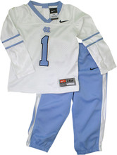Carolina Toddler Football Jersey Set-Mesh and dazzle white jersey with #1 on front and back with Carolina blue pants.