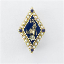 ΣΑΕ Crown Pearl Badge with Sapphire Points