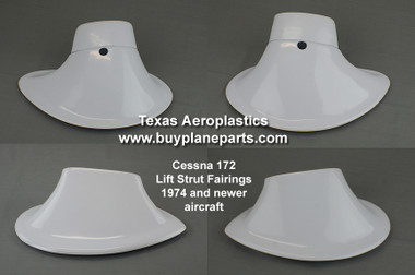 CESSNA STRUT FAIRINGS from TEXAS AEROPLASTICS Late model Cessna 172 Lift Strut Fairings, Set of four.  OEM Part Numbers 0522150-1, 0522150-2, 0523047-1, 0523047-2. Product number 28-07-80A