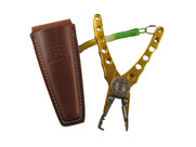 Santos Talon Big Game Fishing Pliers in Gold with Leather Sheath