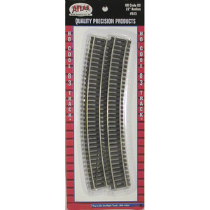 "Atlas 0535 Code 83 22"" Radius Curved HO pack of 6 pieces"