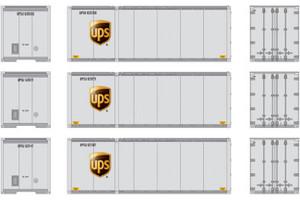 Athearn RTR 17432 UPS w/logo #2 28' Containers 3-pack HO