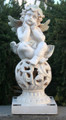 Angel Cherub Sculpture Sitting on Ball Solar Light