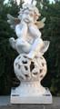 Angel Cherub Sculpture Sitting on Ball Solar Light