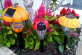 2-Pk Solar Garden Decor Plastic Stake Lights (Pumpkin, Ladybug, Mushroom, Sunflower)