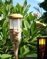 2-Pk Garden Bamboo Tiki Torch Solar Landscape Light