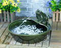 Green Glazed Ceramic Frog Solar Powered Outdoor Water Fountain