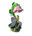 Solar Angel Light Statue with Wings & Pink Rose White LED