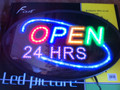 "13""X21"" FLASHING LED ""OPEN24 HRS""  Sign"
