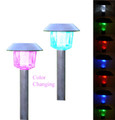 2-Pack Black Powder Coated Steel Color Changing/White Solar Light
