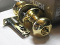 Kwikset Safe Lock Athens Bed &amp; Bath Knob Polished Brass