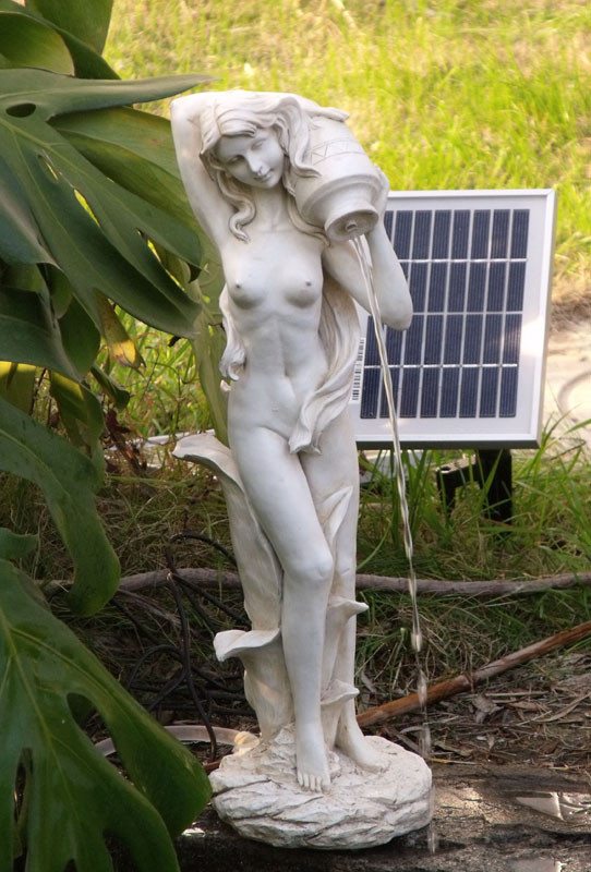 SW Closeouts White Polyresin Lady Standing Pond Spitter Solar Pump Kit 2 Watt Panel at Sears.com