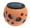 Solar Light Round Ceramic Orange Pot (Bubble)