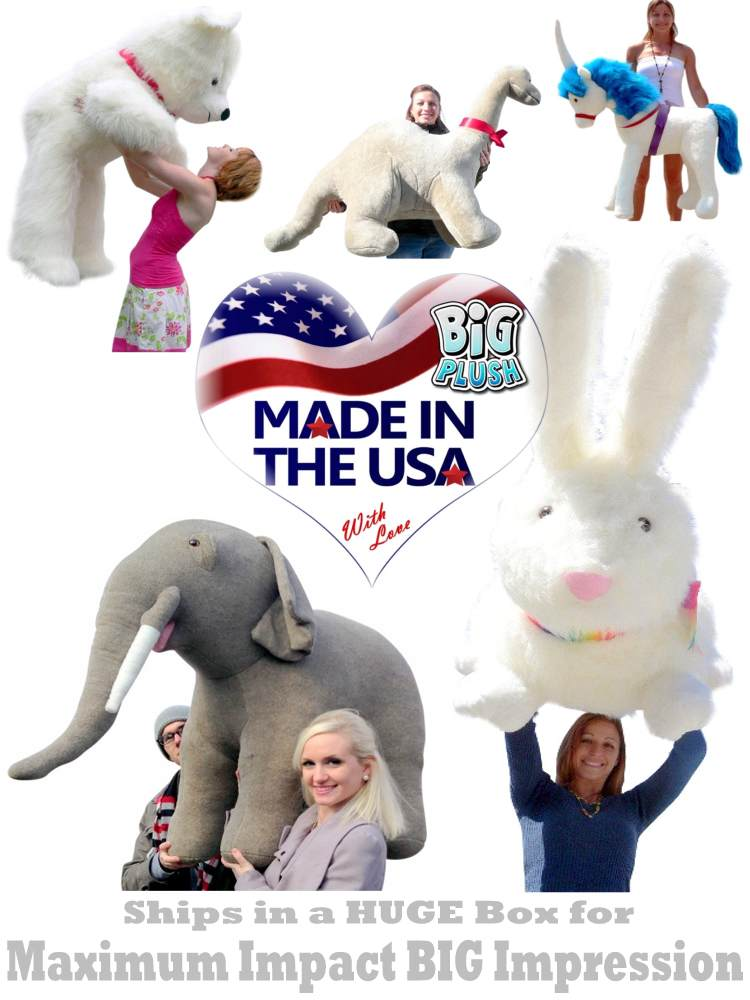 Ships in a BIG box for maximum BIG impression impact.. Plush Animal Toys manufactured in the USA using American made fabric, materials and American labor