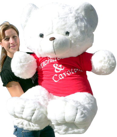 Get your names custom personalized on your big plush teddy bear's t-shirt!