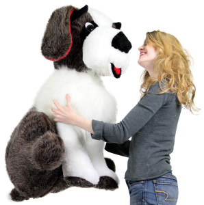 American Made Giant Stuffed Saint Bernard 38 Inches Tall Big Plush Dog More Than Three Feet Tall Made in the USA America
