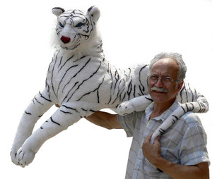 """GIGANTIC 45 inches long WHITE TIGER STUFFED REALISTIC SIBERIAN PLUSH Blue Eyes /45"""" Body / 36"""" Tail / Tall Head Style"""