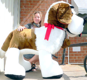 American Made Giant Stuffed Dog Saint Bernard 60 Inches Huge Soft Big Plush Animal 5 Feet Long Made in the USA America