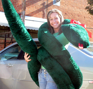 GIANT 18 FEET LONG STUFFED SNAKE - ABSOLUTELY HUGE - Color: GREEN