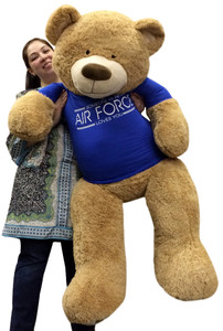 Giant Air Force Military Teddy Bear 5 Feet Tall Squishy Soft Wears Tshirt That Says SOMEONE IN THE AIR FORCE LOVES YOU