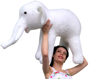 American Made Large Stuffed White Elephant 36 Inches Big Plush Animal Made in the USA America