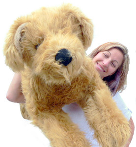 Giant Stuffed Dog 42-inches Long Laying-Down Golden Labrador Retriever Big Plush Dog - Made in the USA