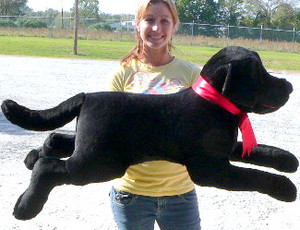 American Made Giant Stuffed Dog 42 inches long Black Labrador Retriever Made in the USA