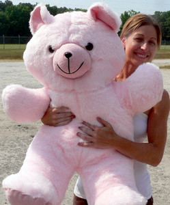 Giant Pink Color Teddy Bear is 3-Feet-Tall Large Plush Stuffed Animal - Made in the USA America