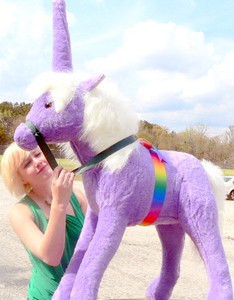 American Made Giant Stuffed Purple Unicorn 3 Feet Wide and 3 Feet Tall Purple Violet Lavender color Made in the USA America