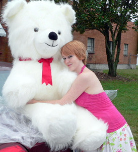 American Made Soft Giant Teddy Bear 54 Inches White Long Fur Made in the USA America