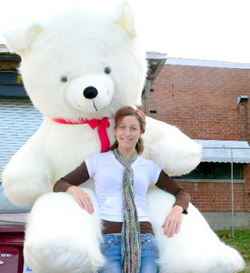 American Made 8 Feet Tall Biggest White Teddy Bear in the World 96 Inches From Head to Toe