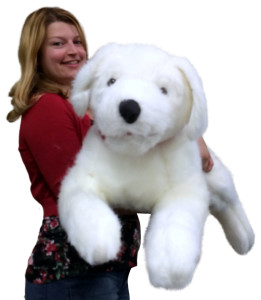 American Made Giant Stuffed Puppy Dog 42 Inches Big Plush Best Friend White Soft Premium Quality