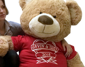 Personalized 5 Foot Teddy Bear Wearing Personalized Couples Tshirt for Valentines Day or Any Day Wears Red Tshirt Custom Imprinted His Name and Her Name and the Year